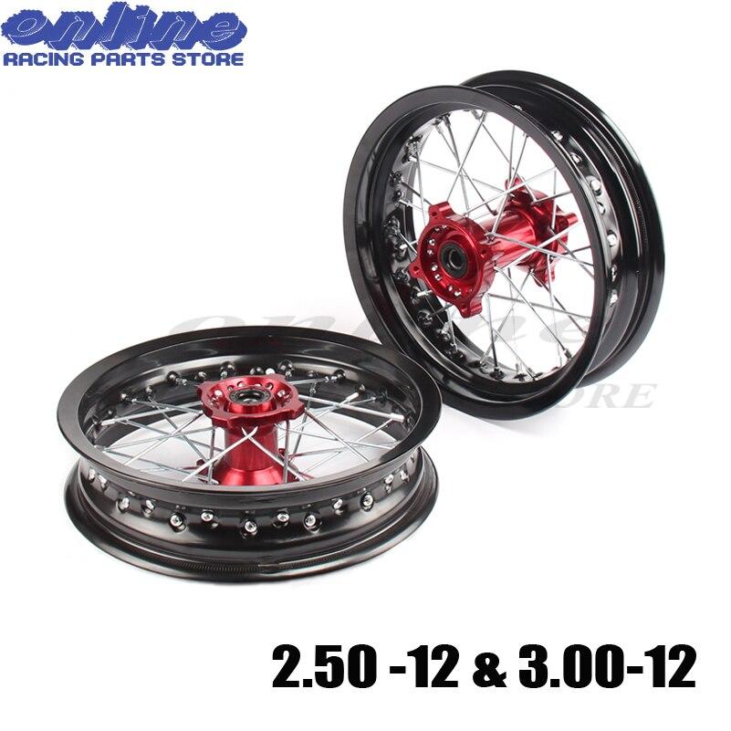 15mm/12mm trou jantes 2.50-12 pouces & 3.00x12 pouces roue avant et arrière avec moyeu de CNC rouge pour KTM CRF dirt bike