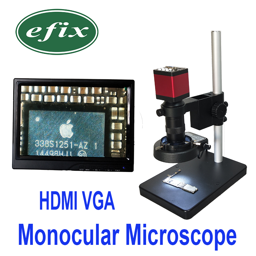 HDMI VGA Monocular Microscope HD 13MP Digital Camera +100x C Mount lens +56 LED Ring Light + Stand Repair Phone Soldering Tool efix 2mp 7 tv lcd monitor digital camera microscope magnifier led light fix repair mobile cell phone pcb bga ic soldering tools