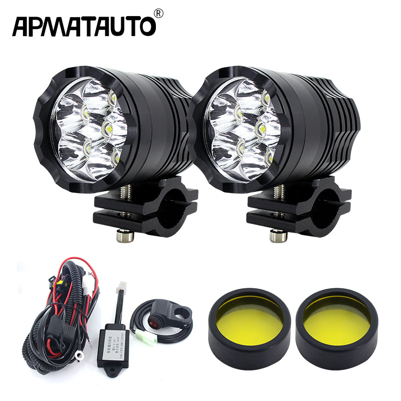 2x Motorcycle Spot Fog Light Headlight  Waterproof 6 LED Front Head Lamp 12V-85V