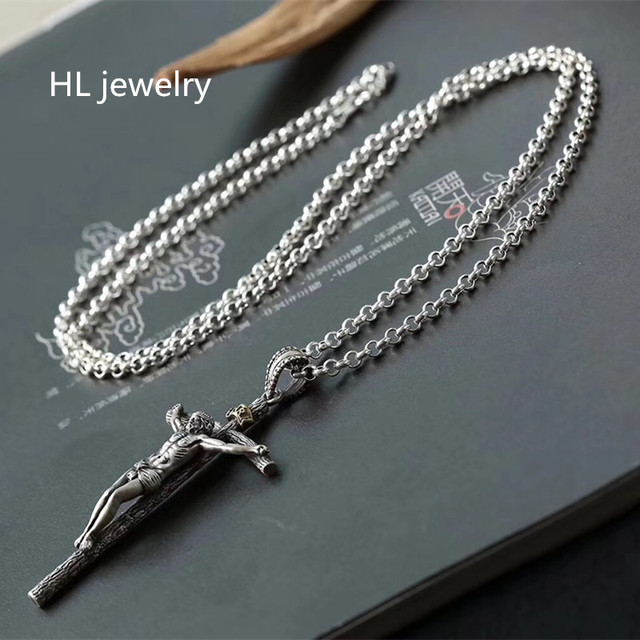 Colar de joias de prata esterlina 925, 65cm, 4mm, corrente de espessura, presente de natal, colar de prata thai, gargantilha de jesus & pingentes