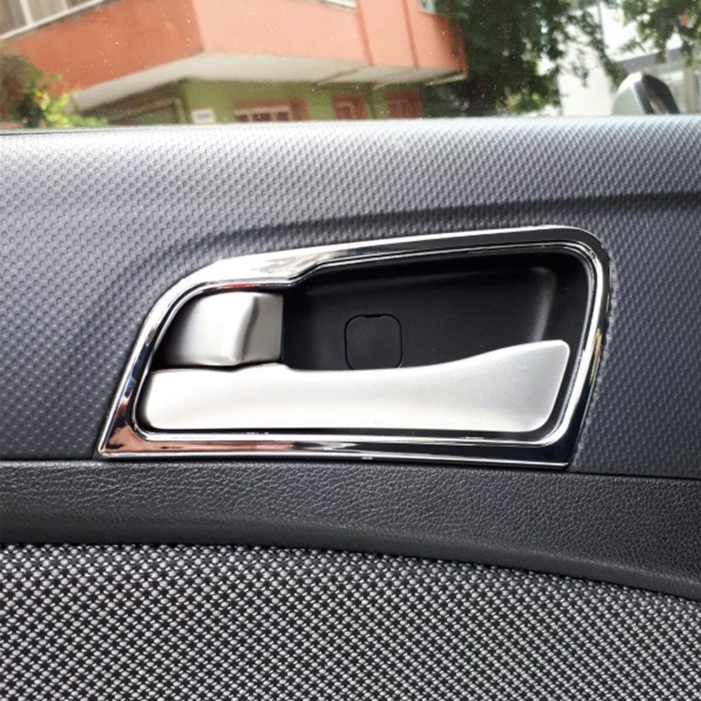 Image 5 - Car styling For Hyundai Solaris accent sedan hatchback 2011 2015 Chrome door handle cover interior decoration ring sticker-in Car Stickers from Automobiles & Motorcycles