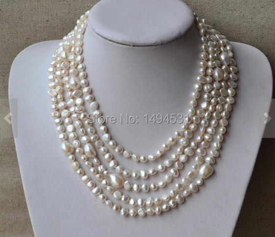 Wholesale Pearl Necklace, 100 Inches Long 6-12MM White Color Baroque Shape Genuine Freshwater Pearl Necklace,Fashion Jewelry.