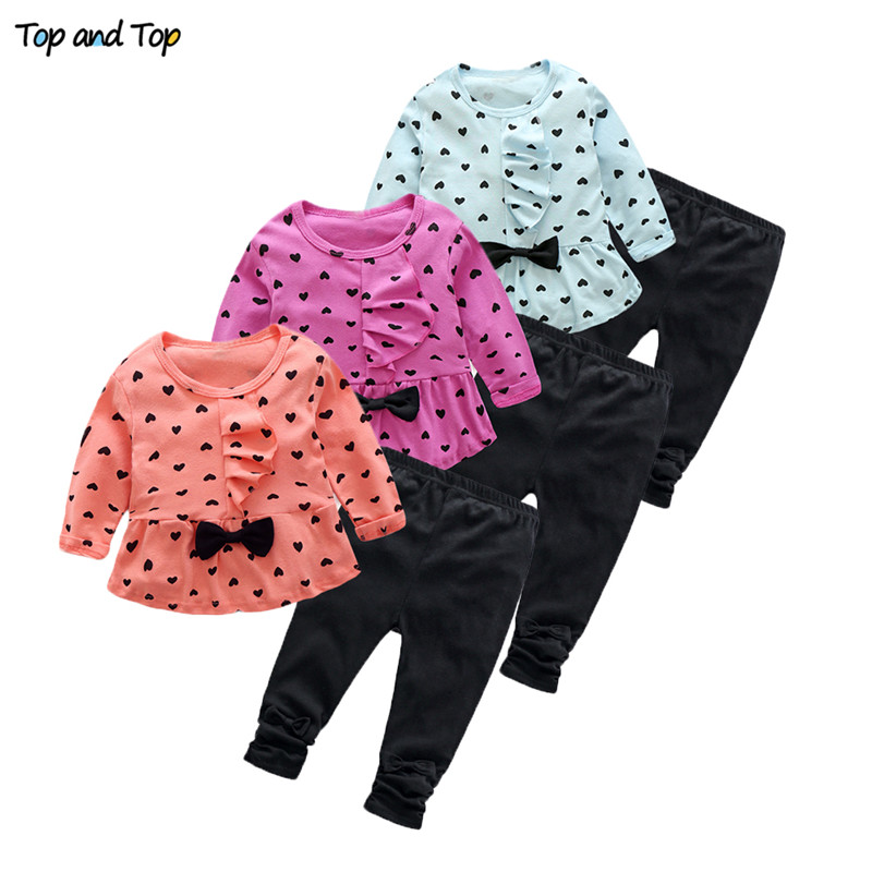 Outfit-Set Tshirt Baby-Girl-Clothes Long-Sleeved Bowknot Toddler Girls Fashion Pants