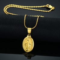 Wholesale Jewelry Statement Necklace Choker Women Men Fashion Accessories Necklace Gold Plated Virgin Mary Pendant Vintage