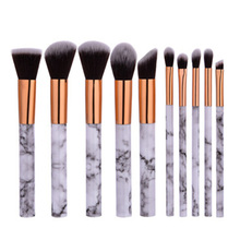 цена на 10 Pcs Pro Marble Stripe Makeup Brushes Set Foundation Eyeshadow Powder Blending Marbling Blusher Brush Cosmetic Brush Tools Kit