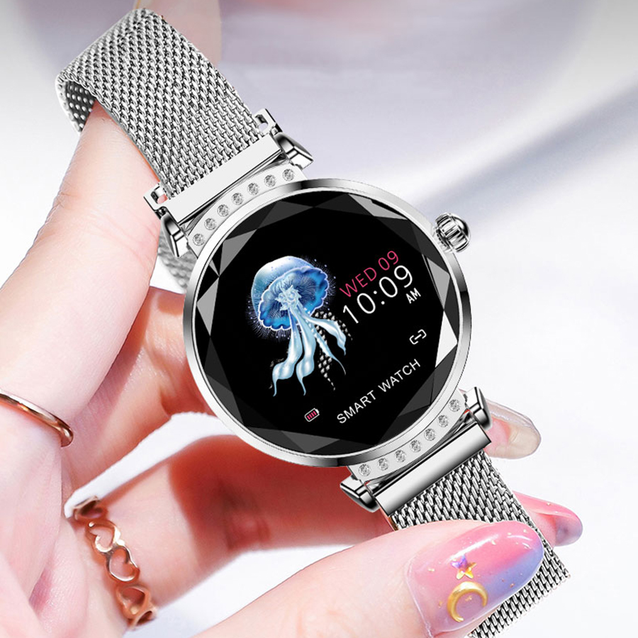 scomas luxo feminino relogio inteligente diamante vidro 04