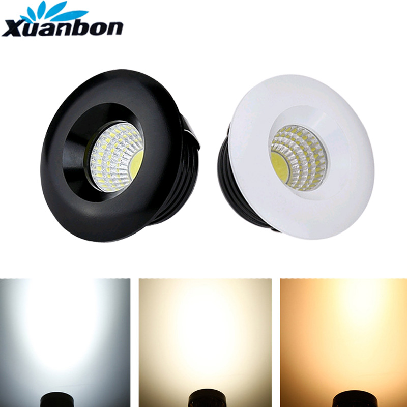 White Black 3W LED Spotlights Mini Led Ceiling Cob Downlight AC85-265V Lighting Bulb For Cabinet Counter Showcase With Drive