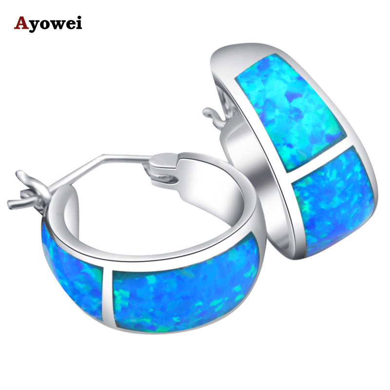Free shipping High Quality Blue Fire Opal Silver Stamped Hoop Earrings Fashion Jewelry Opal Jewelry Gifts OE061A