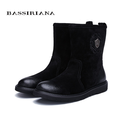 BASSIRIANA new warm genuine leather shoes men snow ankle boots winter round toe slip-on soft nature wool black suede size 39-45 Multan