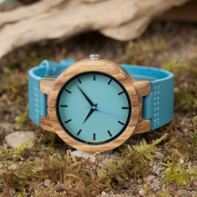 Men Blue Leather Band Antique Wood Watches With Blue Anlaogue Display Bamboo Wooden Watches