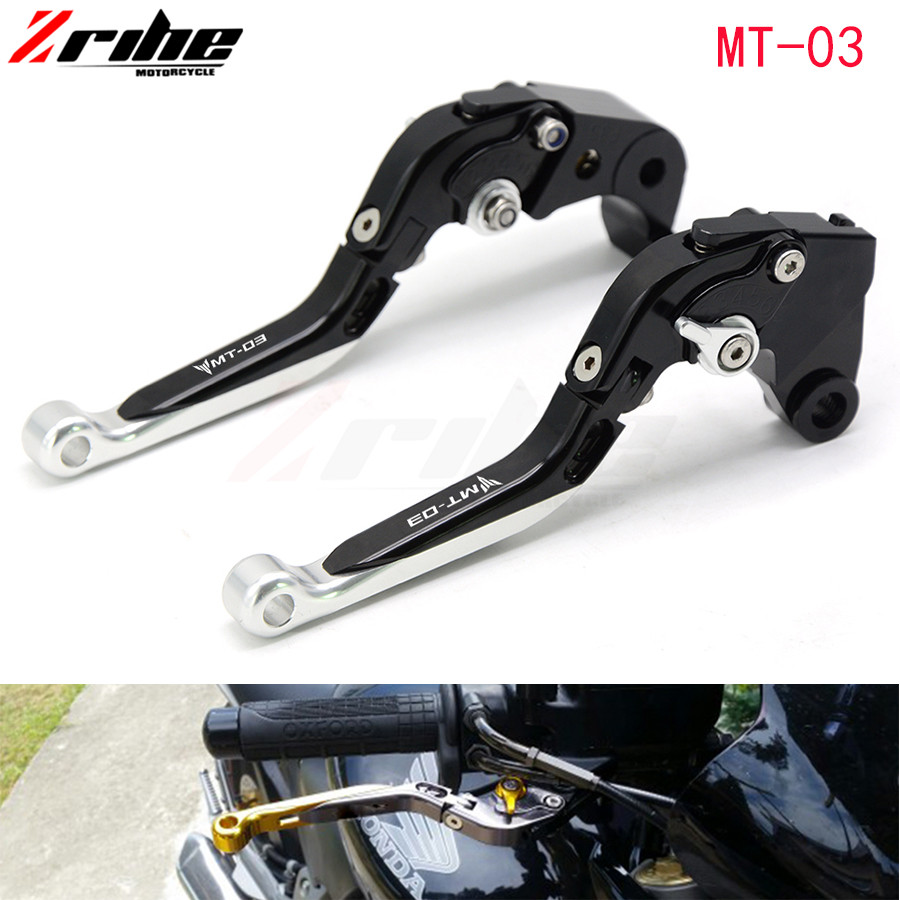 For YAMAHA MT-03 MT03 MT 03 2005-2009 Motorcycle Accessories Aluminum CNC Folding Extendable Brake Clutch Levers LOGO MT-03 6 colors cnc adjustable motorcycle brake clutch levers for yamaha yzf r6 yzfr6 1999 2004 2005 2016 2017 logo yzf r6 lever