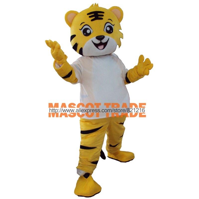 Jaune tigre De Mascotte Costume Animal de Bande Dessinée fantaisie robe Taille Adulte pour Carival Halloween parti événement
