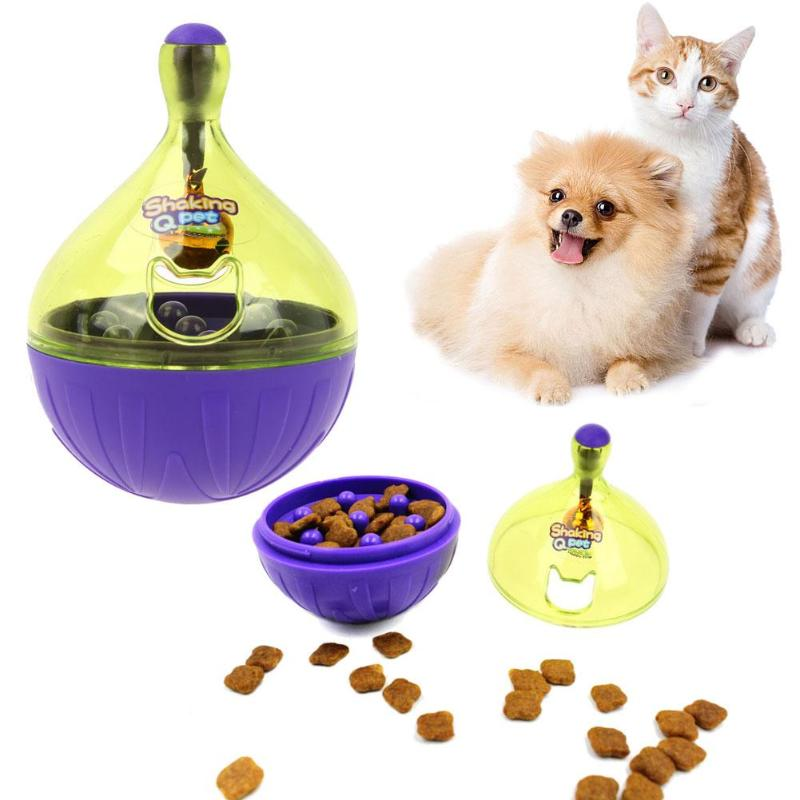 Tumbler Cat Dog Food Feeders Large Plastic Pet Dog Feeding Bowl Small Leaking Outlet Cat Toy Tumbler Food Dog Feeders for Snacks