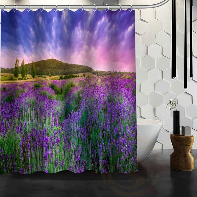 Best Nice Custom Lavender Shower Curtain Bath Waterproof Fabric For Bathroom More Size Wjy 86