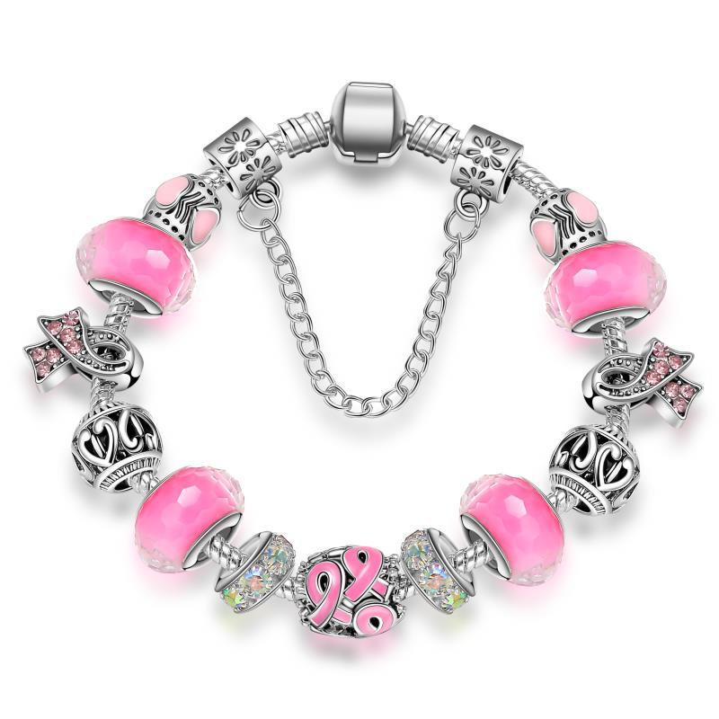 KEORMA Antikk sølv armbånd for kvinner Murano Glass Perle Crystal Breast Cancer Awareness Pink Ribbon Charms Armbånd