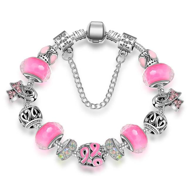 KEORMA Antique Silver  bracelets for women Murano Glass Bead Crystal Breast Cancer Awareness Pink Ribbon Charms Bracelet
