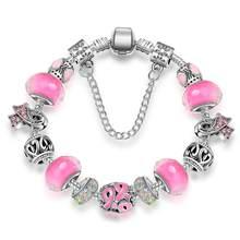 344278367d40 KEORMA antiguo pulseras de plata para las mujeres de cristal de Murano  grano de cristal de mama Cáncer conciencia Rosa cinta pul.