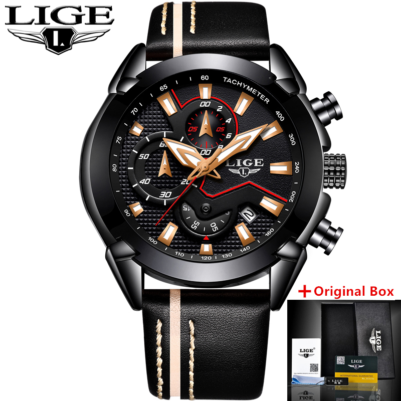 2018 LIGE Mens Watches Top Brand Luxury Quartz Gold Watch Men Casual Leather Military Waterproof Sport Watch Relogio Masculino classic simple star women watch men top famous luxury brand quartz watch leather student watches for loves relogio feminino