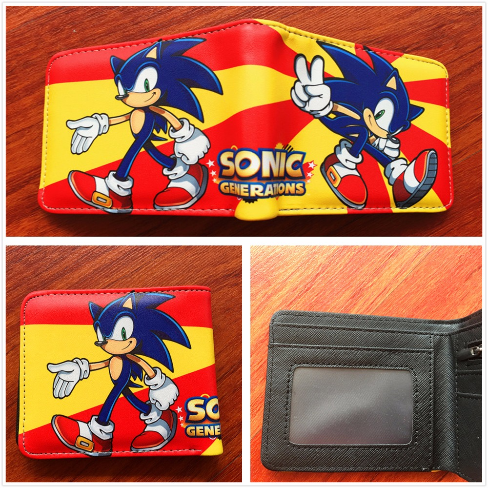 Sonic the Hedgehog Anime Wallet PU Cartoon Super Sonic Wallets for Student Teenager W529 dc wonder woman wallet suicide squad purse super hero fashion cartoon wallets personalized anime purses for teens girl student