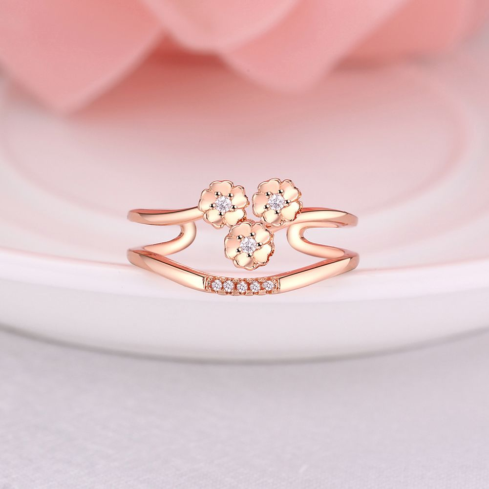 Crystal wedding Ring Finger Ring Engagement Clover flower Wedding ...