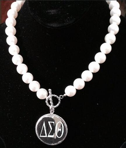 Drop shop pearl  Delta Sigma Theta DST Sorority sliver hot sell  necklace Jewelry Drop shop pearl  Delta Sigma Theta DST Sorority sliver hot sell  necklace Jewelry