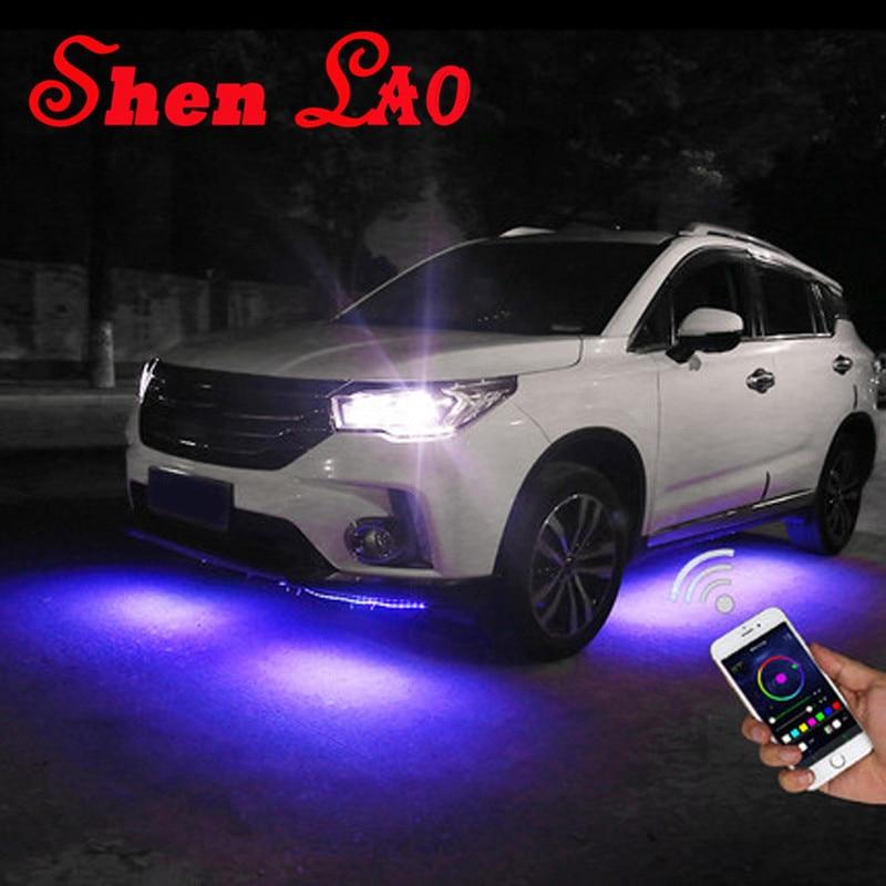 ShenLao App control Car RGB LED Strip for car lights Under Car Glow Underbody System Neon