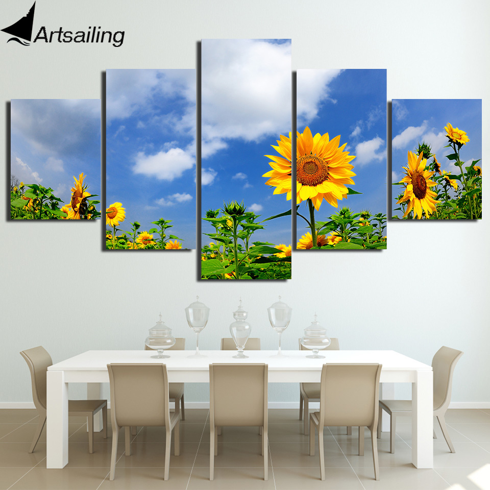 HD Printed 5 Piece Canvas Prints Sunflower Under Blue Sky Canvas Painting Flower Field Wall Pictures for Living Room Home Decor