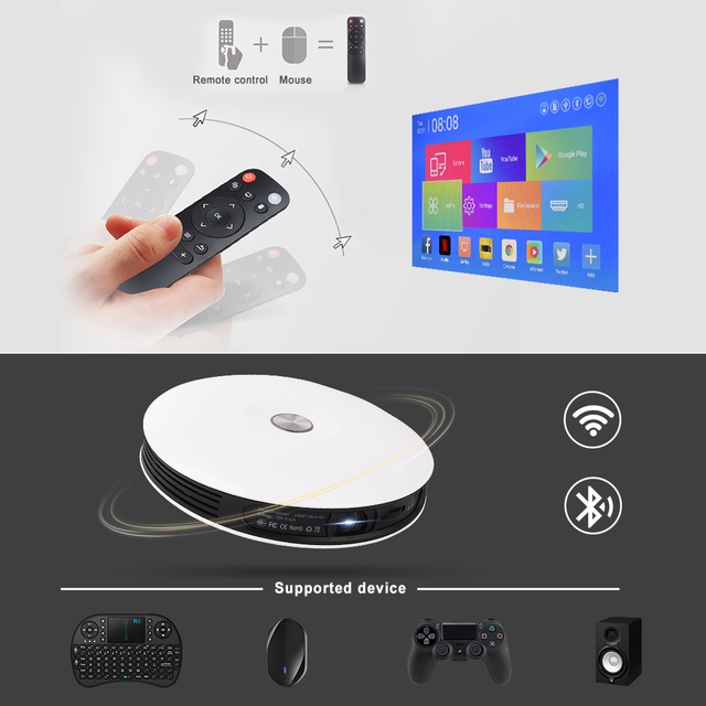 TouYinger G4 Mini 2D to 3D DLP Projector data show Android 720P Full HD 4K video 4