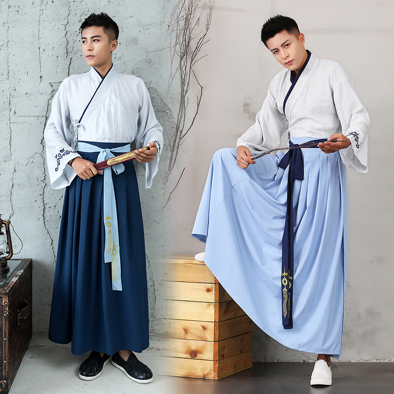 Ancient Chinese Costume Men Stage Performance Outfit For Dynasty Men Hanfu Costume Satin Robe Chinese Traditional Dress DN2111