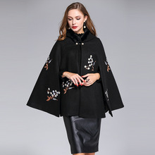 High Quality Winter Elegant Embroidery Shawl Coat With Hat High Quality European Pretty Loose Cloak Warm Coat(China)