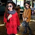 Alta calidad Nuevo color del caramelo del otoño invierno turn down collar abrigo de lana niñas roupas infantis 4 ~ 13 edad niños chaqueta de la ropa