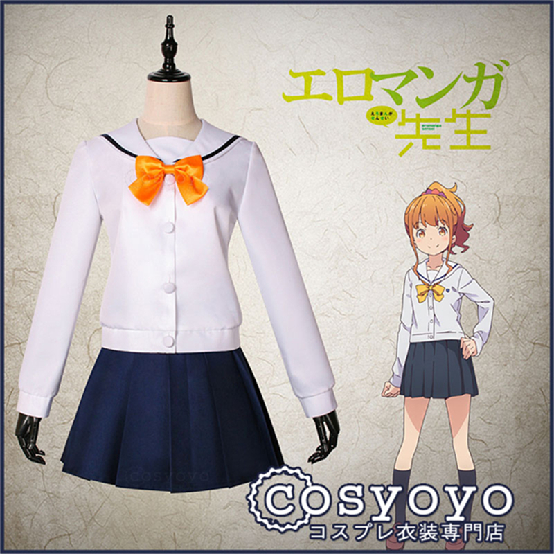 Japanese Anime Eromanga Sensei Jinno Megumi Campus style sailor clothes Cosplay Costume Uniform P