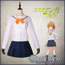 Japanese Anime Eromanga Sensei Jinno Megumi Campus style sailor clothes Cosplay Costume Uniform P