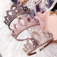 Boutique 12pcs Fashion Glitter Royal 3D Tiaras Hairbands Solid Kawaii Gemstone Crown Hard Headbands Princess Hair Accessories