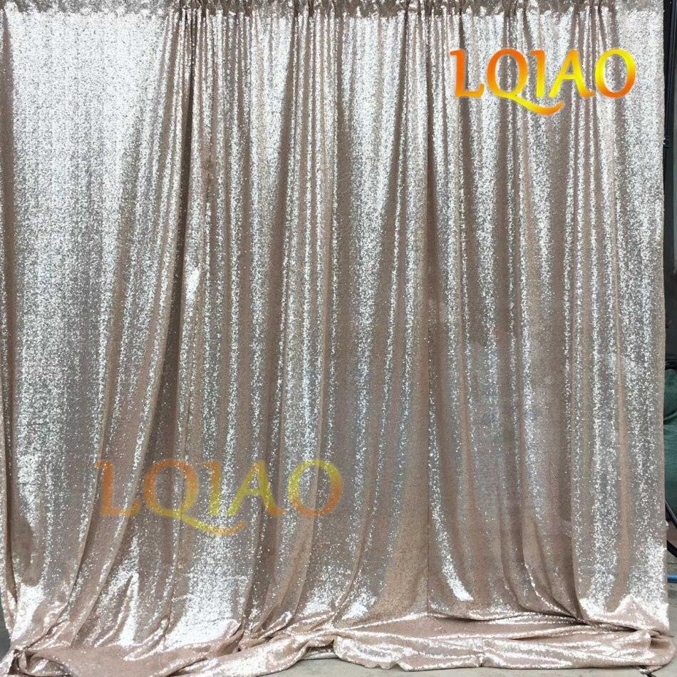 20ft * 10ft brillant Champagne or miroitant Sequin tissu toile de fond Photo stand de mariage photographie décors Sequin rideau