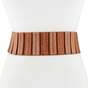 Image 2 - Lady Leather Waistband Womens Genuine Leather Belt Skirt Trim Fur Coat Down Jacket Belt Black Elastic Wide Waistband B 8403