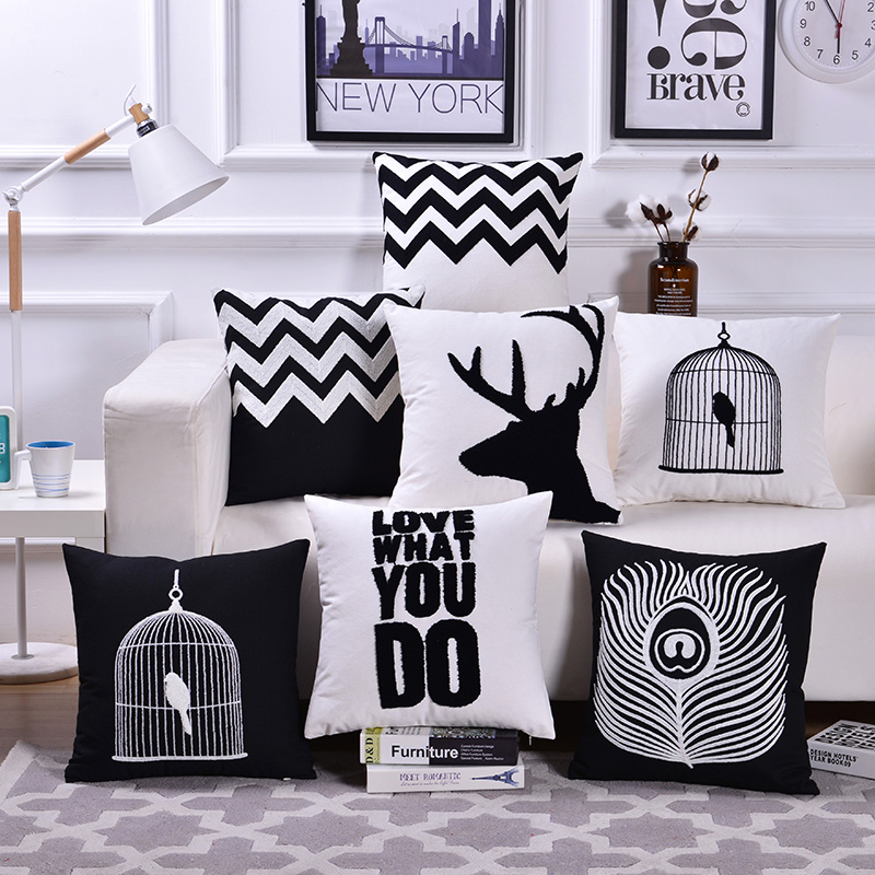Black White Color Embroidered Creative High Quality Back Cushion Cover 18x18 inch 45x45 cm Sofa Beds Throw Hold Pillow Case Pads