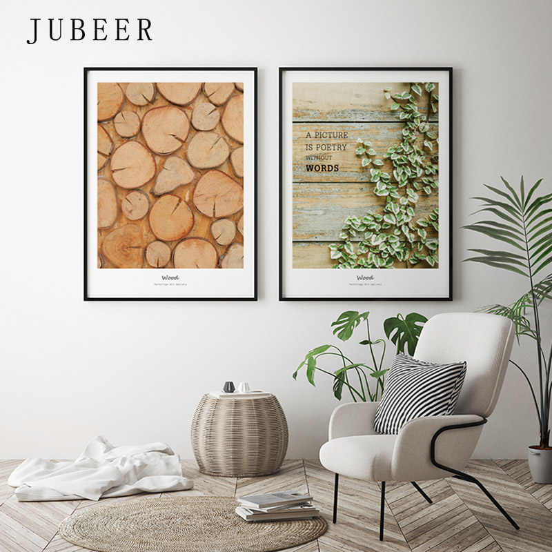 Scandinavian Style Wood Green Plant Decorative Painting Poster and Prints Picture on Wall Nordic Decoration Home for Living Room