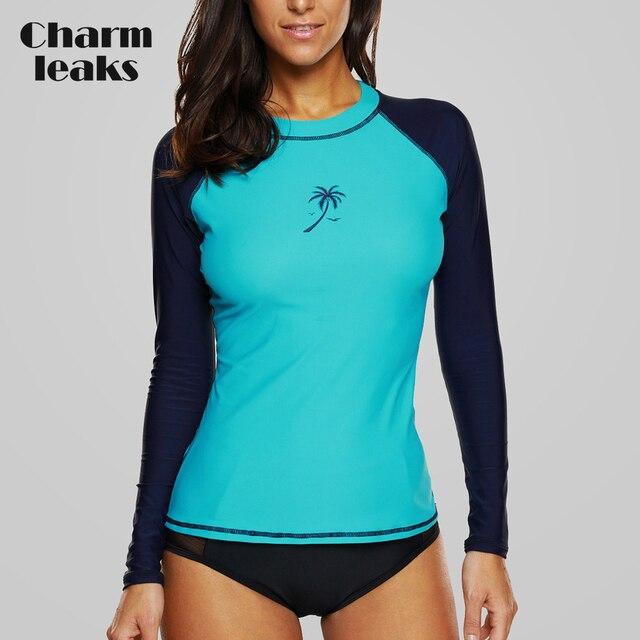 Charmleaks Wanita K Berlaku Baju Renang Lengan Panjang Ruam Penjaga Surfing Top Colorblock Baju Renang Sepeda Bersepeda Kemeja UPF50 + Pantai