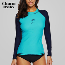 Charmleaks Women Rashguard Swimwear Long Sleeve Rash Guard Surfing Top Colorblock Swimsuit Bike Biking Shirts UPF50+ Beach Wear
