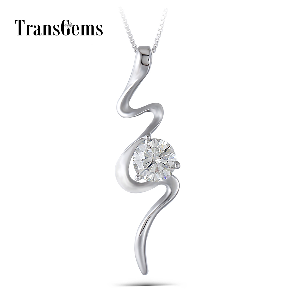Transgems 14K 585 White Gold 1ct Carat 6.5mm GH Color Clear Moissanite Pendant Necklace with Complimentary Chain for Women 18k 750 white gold pendant gh color round lab grown moissanite double heart necklace diamond pendant necklace for women jewelry