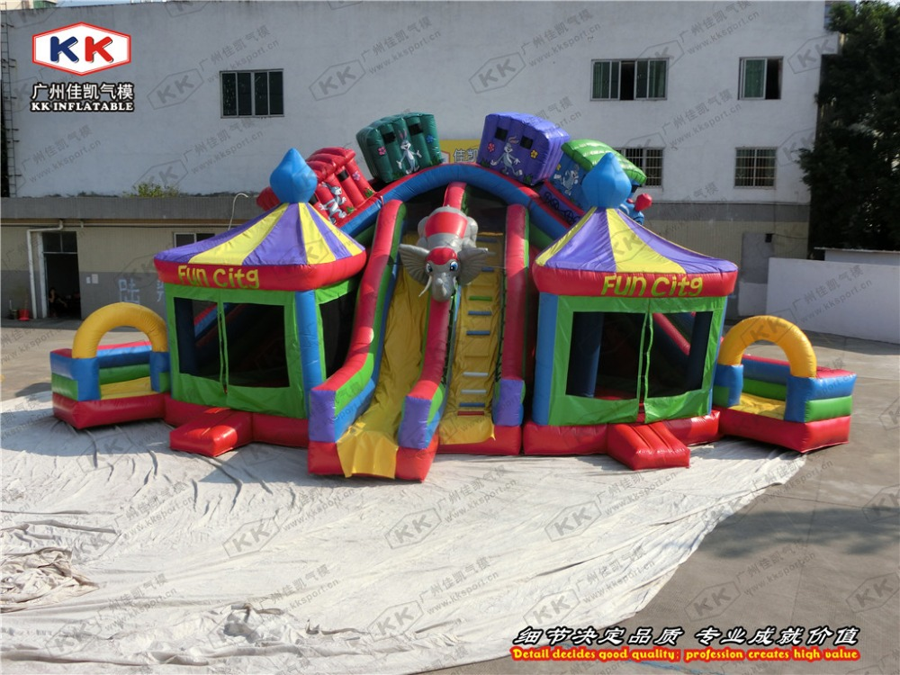 commercial bouncer house large inflatable fun city with slide combo rental ...