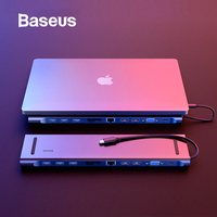 Baseus 11 в 1 Многофункциональный USB C концентратор к HDMI VGA USB 3,0 RJ45 3,5 мм аудио адаптер для ноутбука MacBook Тип C концентратор для samsung S8 huawei Коврики 10