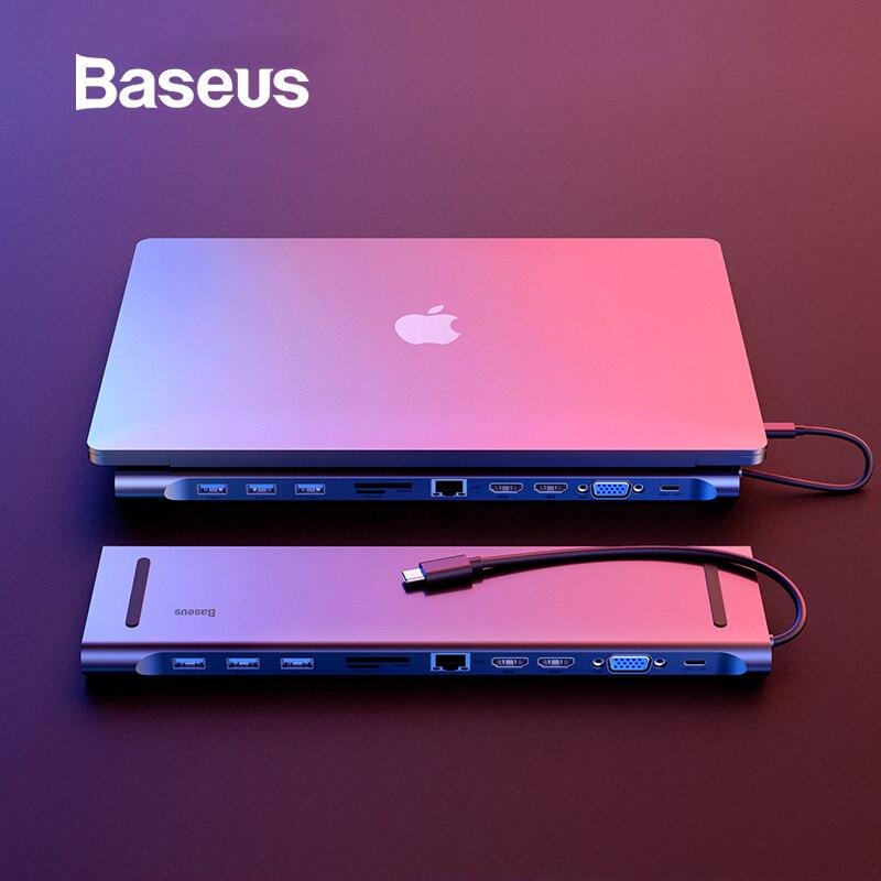 Baseus 11 en 1 Multi USB C HUB vers HDMI VGA USB 3.0 RJ45 3.5mm adaptateur Audio pour MacBook Type C HUB pour Samsung S8 Huawei Mate 10