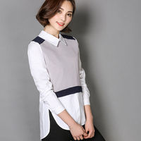 Spring Autumn 2017 Fashion Women Patchwork Shirts Slim Long Sleeve Turn Down Collar Blouse Zipper 2
