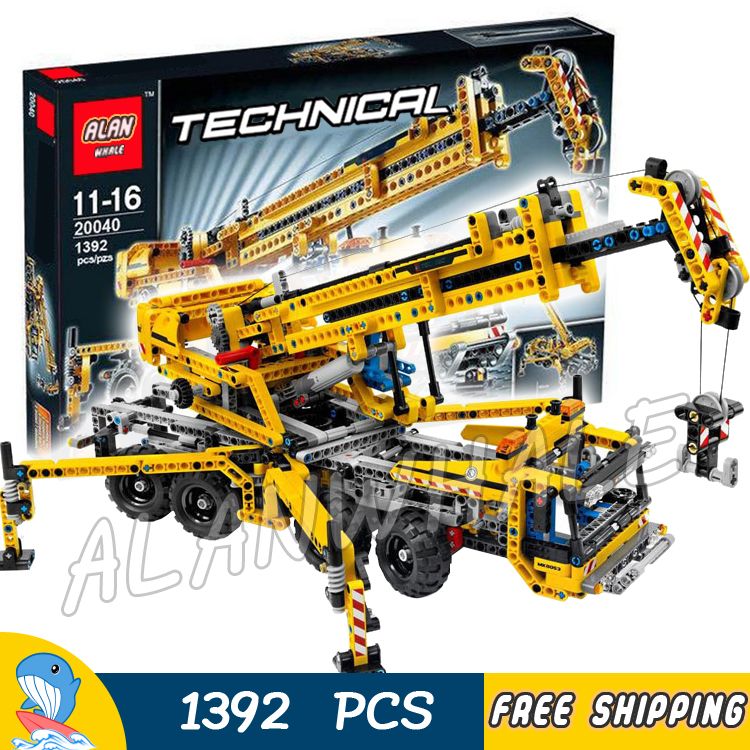 1392pcs Techinic 2in1 Mobile Crane Arms 20040 DIY 8 Wheels Model Building Kit Blocks Gifts Collection Toys Compatible With lego 8 in 1 military ship building blocks toys for boys