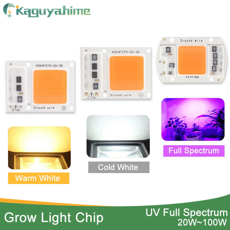 Kaguyahime LED Grow Light Chip COB/UV Full Spectrum/Warm/Cold White AC 220V 240V 20W 30W 50W 100W For Flower Plant  Growth