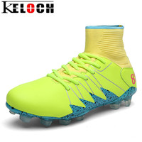 Keloch 2017 Men Soccer Shoes FG High Ankle Football Shoes Outdoor Pu Waterproof Soccer Boots Men