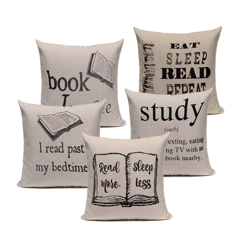 Book Tea Coffee Wine Cushion Cover Cotton Linen Decorative Pillowcase Chair Seat Letter Slang Pillow Cover Home Living Textile