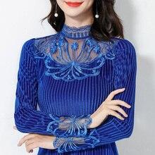 Moda mujer blusa 2019 otoño invierno brillante rayas terciopelo mujeres Camisas elegante manga larga grueso cálido señoras Tops Camisas